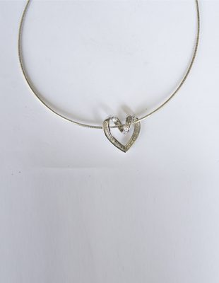 Sterling Silver Choker with Diamond Heart