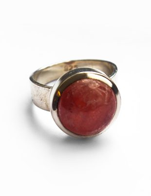 Red Rock and Sterling Silver Ring
