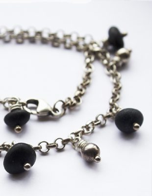 Silver Nugget and Black River Stone Necklace