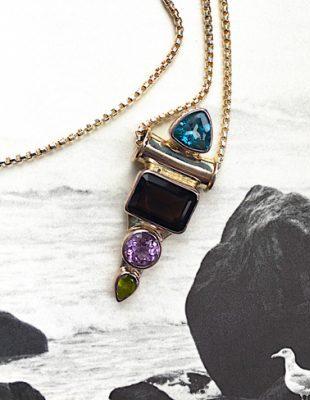 Aquamarine, Garnet, Citrine Pendant