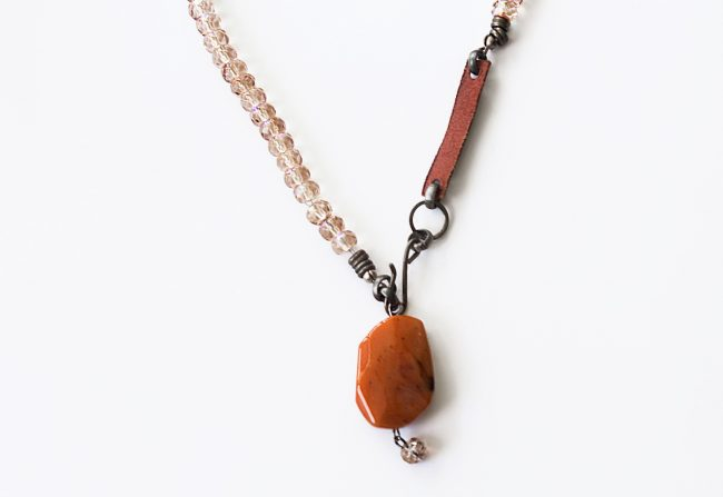 Leather and Stone Necklace