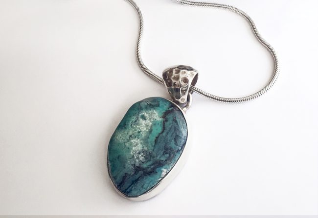 Sterling Silver Raw Opal Necklace