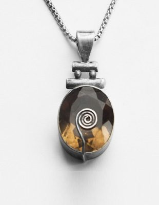 Smokey Topaz Sterling Silver Necklace