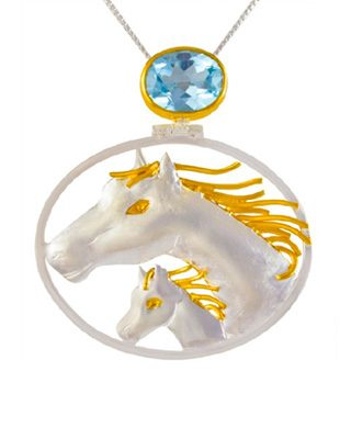 Sterling Silver Horse Pendant with Blue Topaz