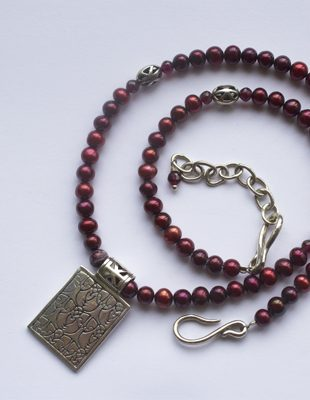Cranberry and Sterling Silver Necklace