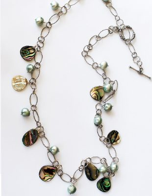 Keishi Pearl Chain Link  Necklace