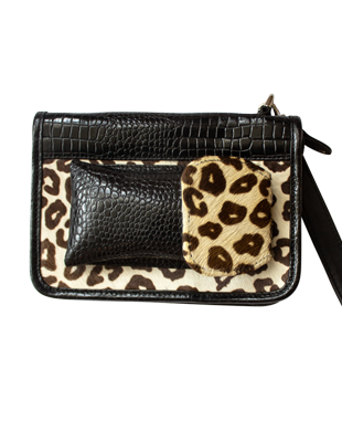 Leather and Leopard Clutch