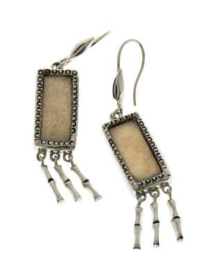 Sterling Fossil Bamboo Earrings with Silver Fringe