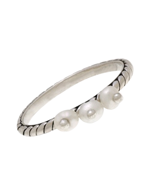 Sterling Silver and Pearl Stacked Ring