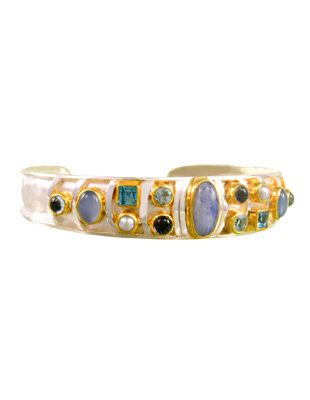 Sterling Silver Bracelet with Semi-Precious Stones