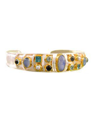 Sterling Silver Bracelet with Semi-Precious Stones