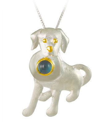 Sterling Silver Dog Pendant with Blue Topaz