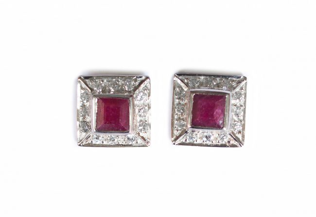 Sterling Red Ruby Earrings Gifted Unique