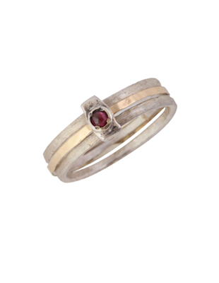 Gold and Sterling Silver Ring with Garnet