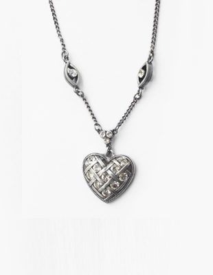 Antique Sterling Silver Heart Necklace