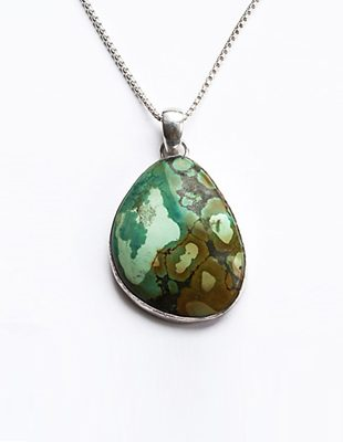 Turquoise stone necklace with sterling silver chain