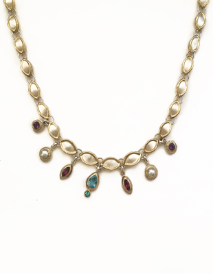 Sterling Silver Necklace with Semi-Precious Stones