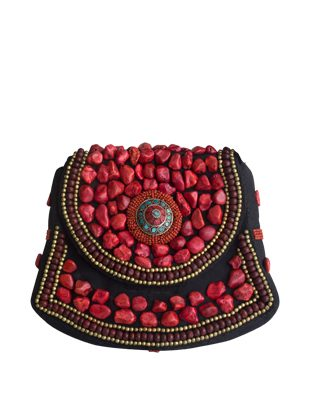 Coral Beaded Purse