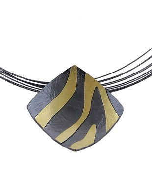 Square Zebra Pendant and Sterling Silver
