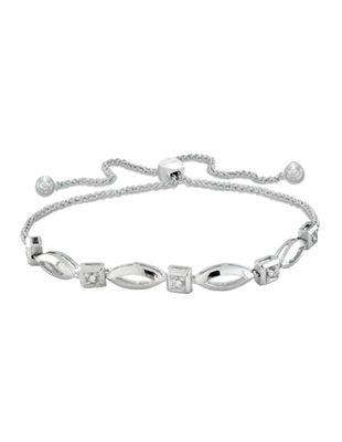 Sterling Silver and Diamond Bolo Bracelet