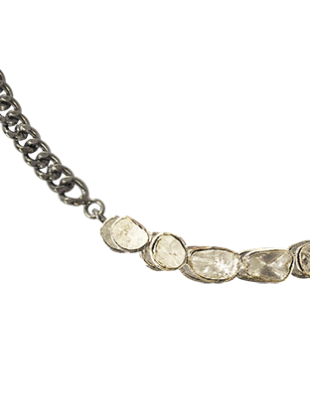 Chain Link Necklace with Diamonds