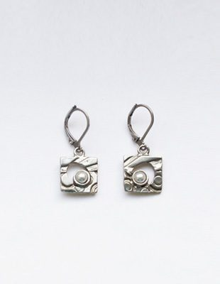 Osmose Free Form Pewter and Pearl Earrings