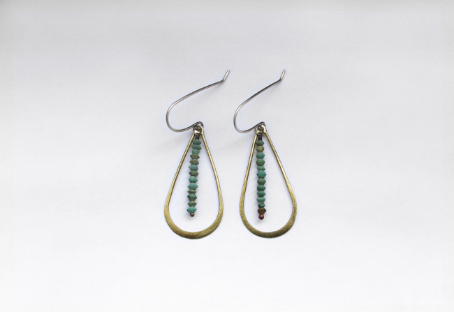 Eric Silvo Earrings Brass and Turquoise Gifted Unique