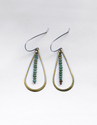 Brass & Turquoise Hand Crafted Earrings