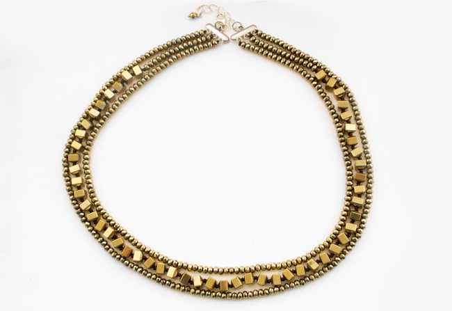 Gold over Hematite 3 strand Necklace LG ONLY $125