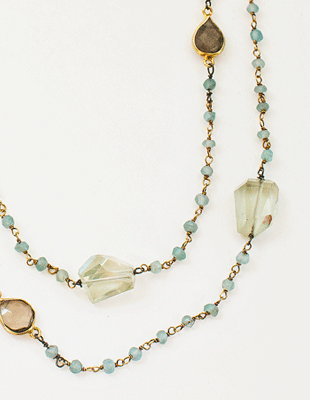 Amethyst and Green Smokey Topaz Necklace