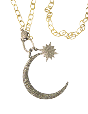Chain Link Necklace with Diamond Celestial Pendant