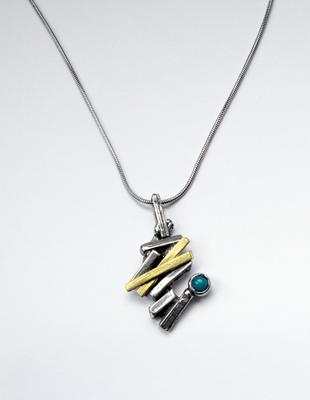 Osmose Gold, Turquoise and Pewter Pendant