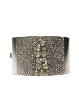 Sterling Silver Diamond Cuff