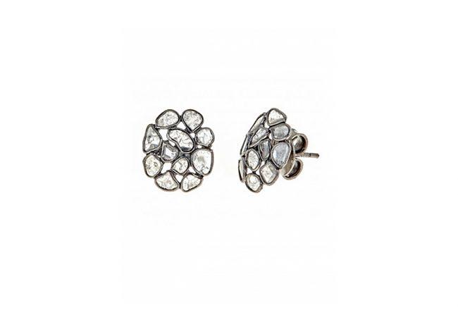 Sliced Diamond Earrings Cluster
