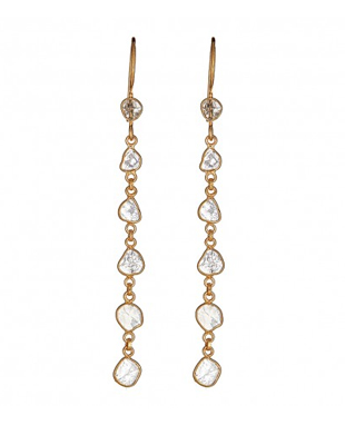 Sliced diamond hanging earrings in gold