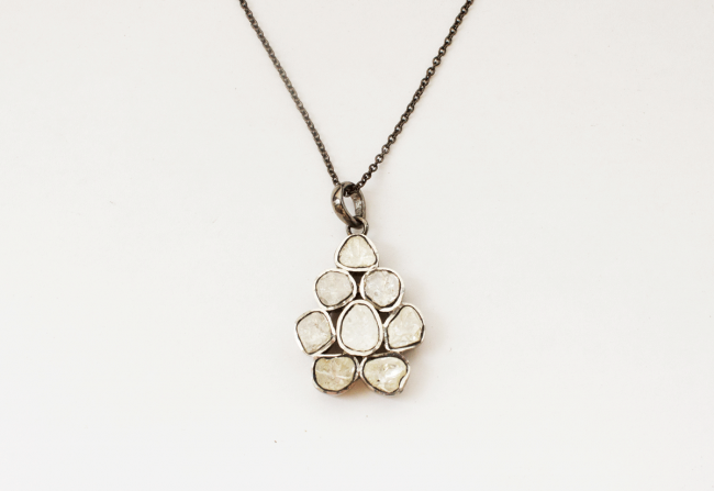 Sliced-Diamond-Pendant-On-Silver-Rodium-Chain