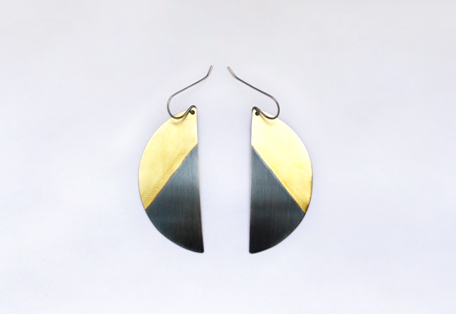 Sterling Silver and Brass Earrings Eric Silva