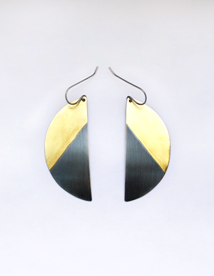 Brass & Sterling Hand-Crafted Earrings