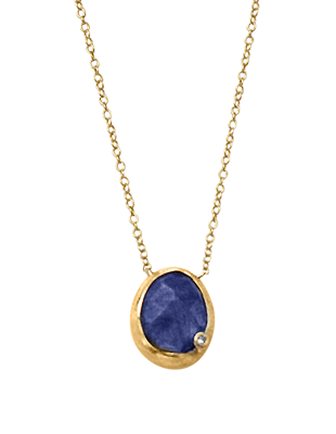 Natural sapphire and diamond necklace