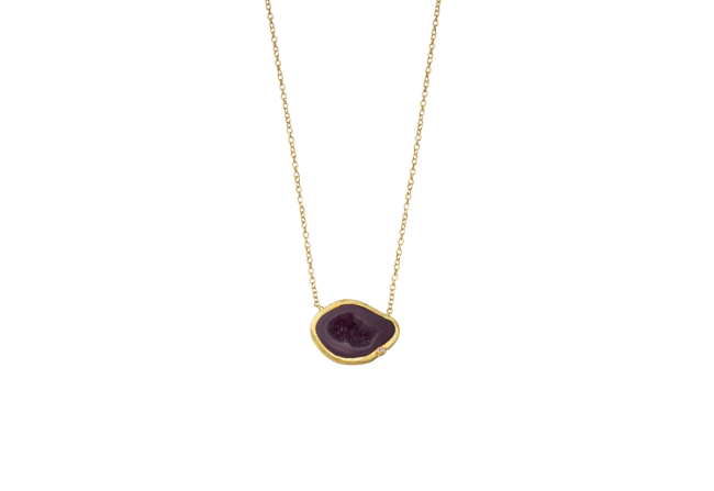 Geode and diamond necklace