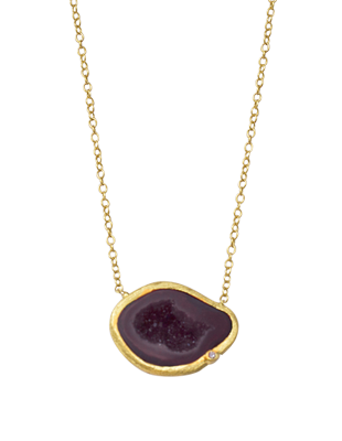 Tabasco geode and diamond necklace