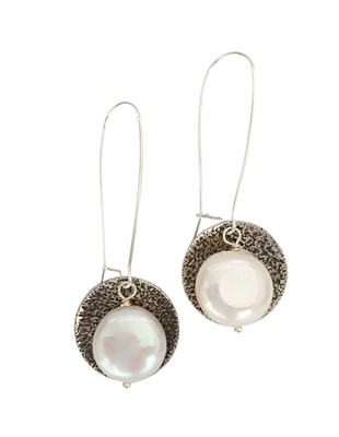 Destiny Sterling Silver and Pearl Earrings