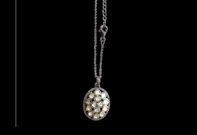 Sliced Diamond Pendant on a Chain