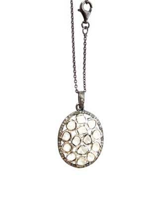 Sliced Diamond Pendant on Rhodium Silver Chain