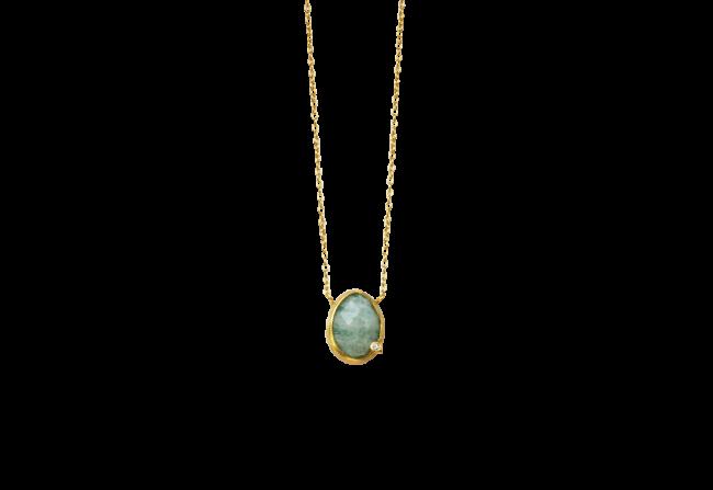 Amazonite and diamond layering necklace