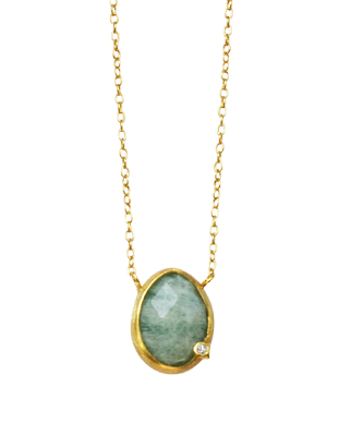 Amazonite and diamond necklace