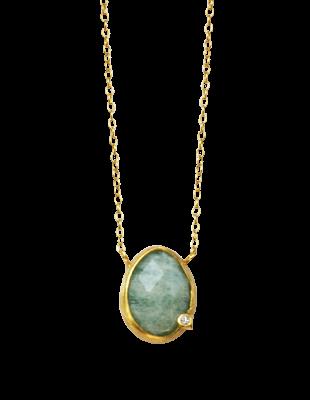 Amazonite and diamond necklace