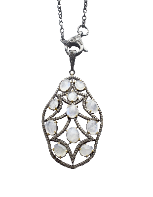 Diamond and Moonstone Necklace