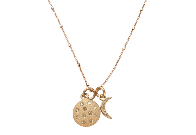 Diamond moon and sun pendant in Rose Gold
