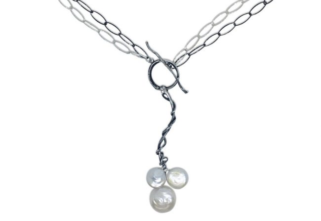 Sterling and Pearl Necklace Gifted Unique
